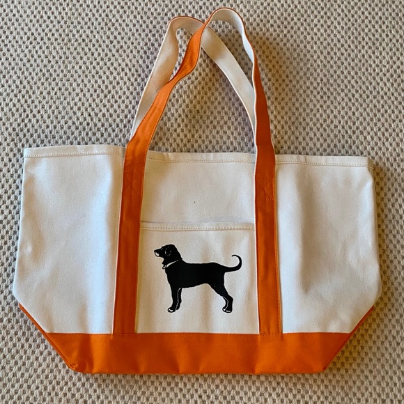 The Black Dog Tote bag white w/ orange stra…